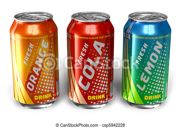 Refreshing drinks in metal cans - csp5942228
