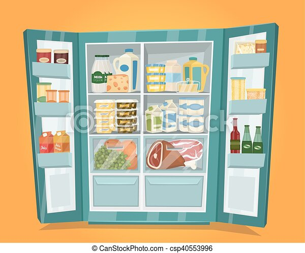 full refrigerator clipart. refrigerator full of food vector in flat design csp40553996 clipart