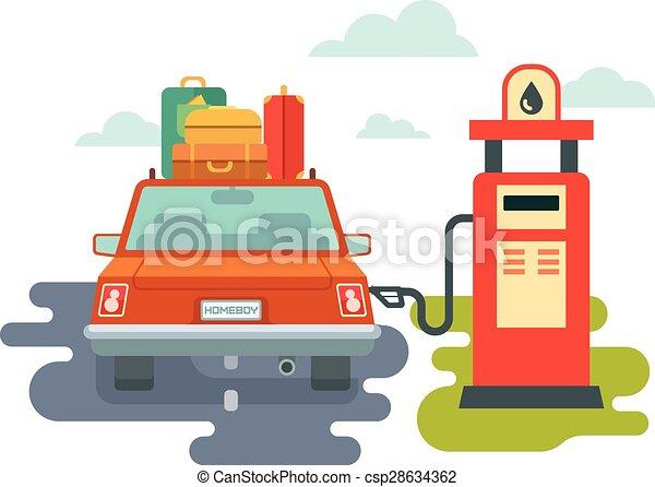 refuel car at gas station concept flat illustration clip art vector rh canstockphoto com service station clipart cartoon gas station clipart