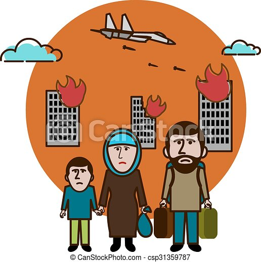 syrian refugees civil war in syria vector illustration vector rh canstockphoto com