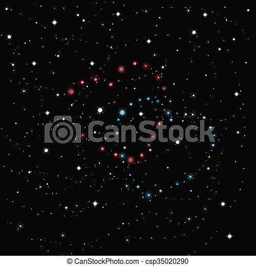 Regado Cielo Dos Negro Estrellas Corazones Blanco Azul