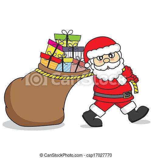 regali, borsa, claus, trascinamento, santa - csp17027770