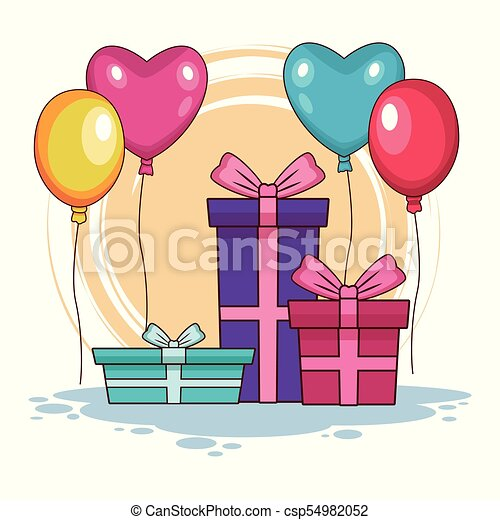 Estremamente Regali, compleanno, palloni. Vettore, grafico, illustrazione JQ93
