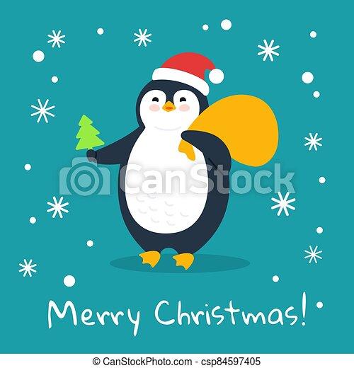 regalo, árbol, navidad, bolsa, alegre, pingüino, vector - csp84597405