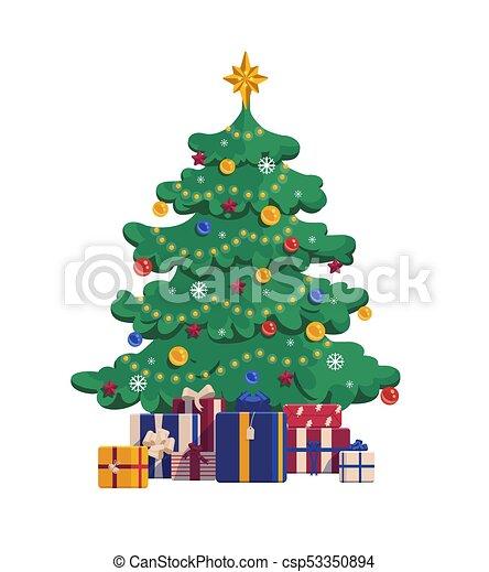 Decorazioni Natalizie 94.Regalo Natale Albero Boxes Illustrazione Isolato Fondo Vettore Bianco Natale Cartone Animato Regalo Natale Canstock
