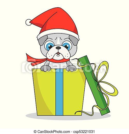 regalo, pacchetto, dentro, cane, cappello santa - csp53221031