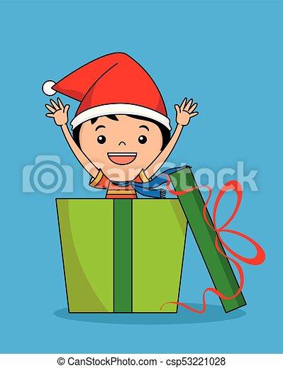 regalo, pacchetto, dentro, santa, bambino, cappello - csp53221028