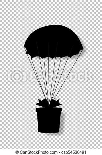 Silueta negra de regalo envuelta con arco cayendo en paracaídas - csp54536491