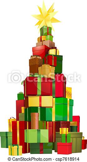 Regalos de árbol de Navidad - csp7618914
