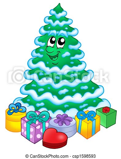 Regalos, árbol, navidad, nevoso Illustration , nevoso