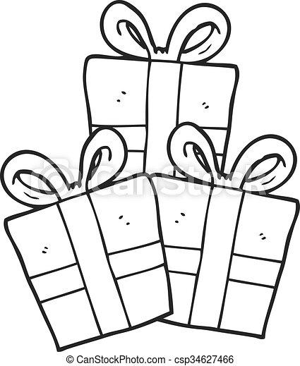 Regalos De Navidad En Blanco Y Negro Regalos De Navidad
