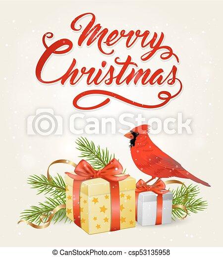 Pájaro Cardenal Rojo y regalos - csp53135958