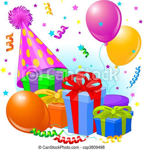 regalos, decoración, cumpleaños - csp3809498
