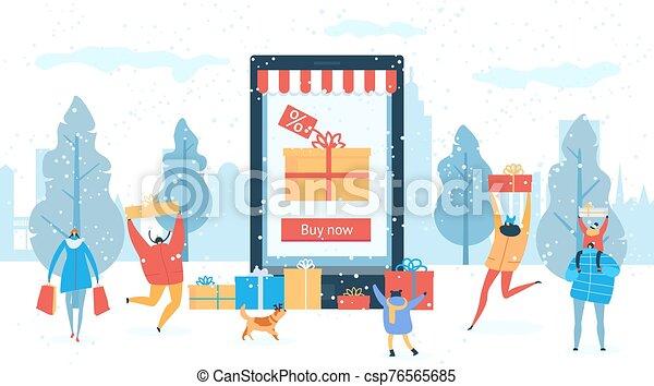 regalos, gente, illustration., descuento, invierno, compras, compra, venta, en línea, vector - csp76565685