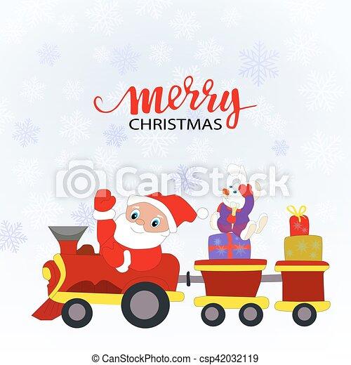 Santa Claus y un tren de juguete con regalos - csp42032119