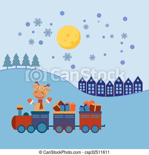 Tren de Navidad con regalos - csp32511611