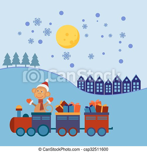 Tren de Navidad con regalos - csp32511600