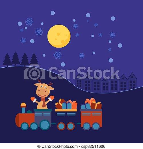 Tren de Navidad con regalos - csp32511606