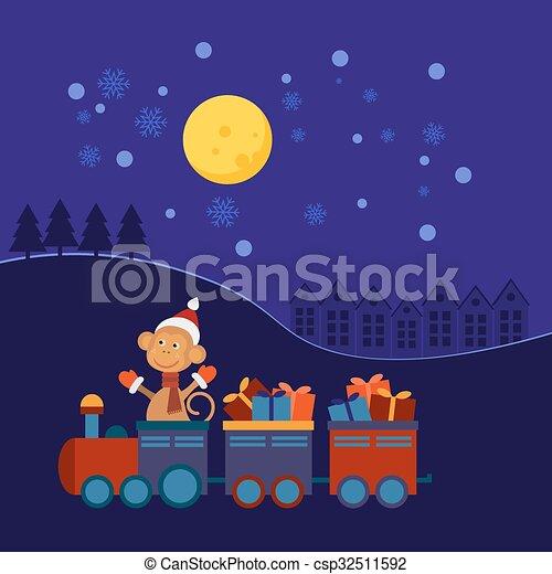 Tren de Navidad con regalos - csp32511592