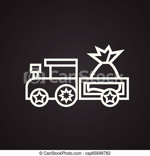 Tren de Navidad con regalos línea delgada sobre fondo negro - csp65699782