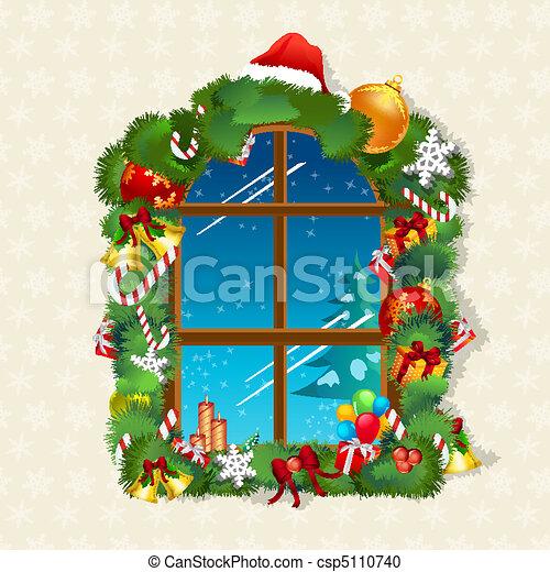 Una tarjeta de Navidad con regalos en la ventana - csp5110740