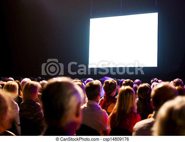 regarder, audience, écran, foule - csp14809176