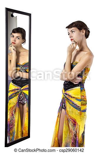 regarder, femme, miroir - csp29060142