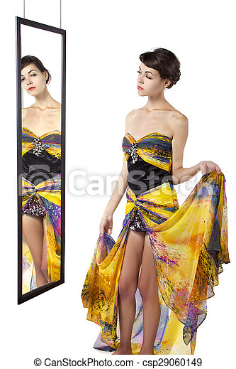 regarder, femme, miroir - csp29060149