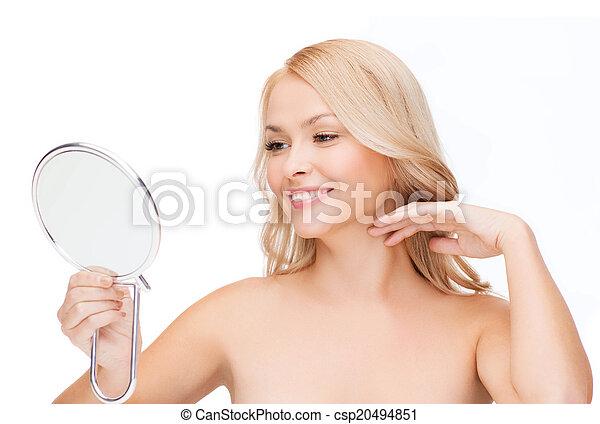 regarder, femme souriante, miroir - csp20494851