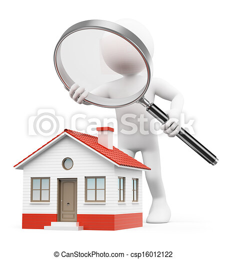 regarder, maison, gens., blanc, 3d - csp16012122