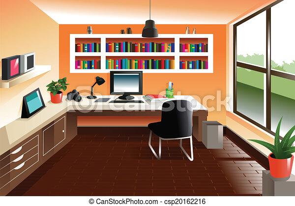 regarder moderne espace de travail bureau moderne clipart vectoris recherchez. Black Bedroom Furniture Sets. Home Design Ideas