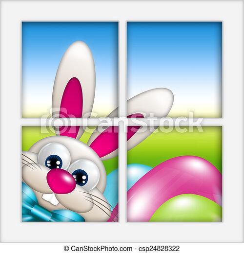 Regarder oeufs paques fen tre lapin oeufs dessin for Regarder par la fenetre