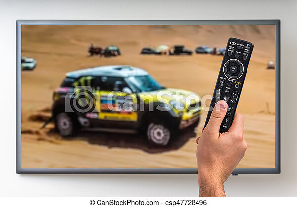 regarder, paris, tv, dakar, courses, homme - csp47728496
