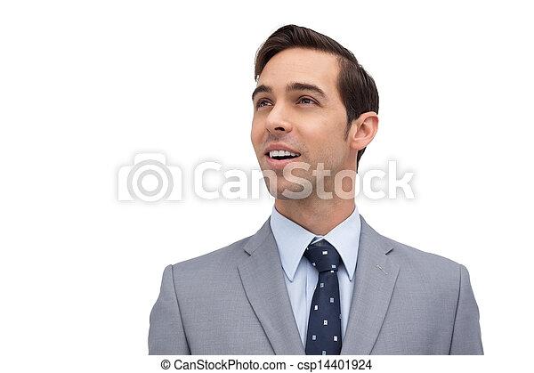 regarder, sourire, loin, homme affaires - csp14401924