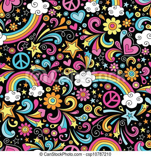regenbogen, doodles, seamless, muster - csp10787210