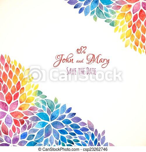 Regenbogen, gemalt, aquarell, farben, schablone, einladung.... EPS ...