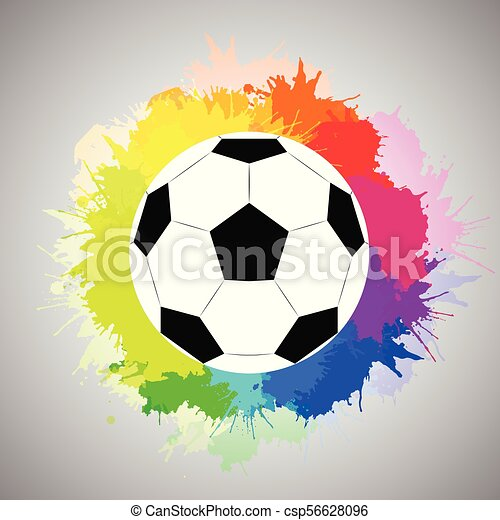 Regenbogen Kugel Aquarell Spruhen Weisses Fussball