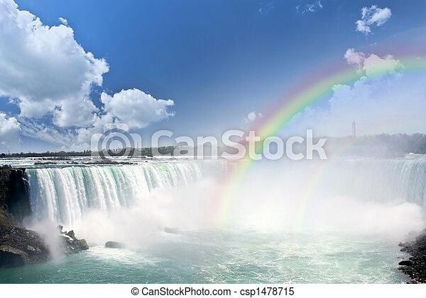 regenbogen, niagarawatervallen - csp1478715