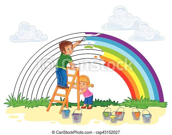 Regenbogen, sorgenfrei, junger, farbe, farben, kinder.... Vektor ...