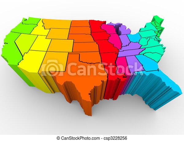 regenboog, verenigd, verscheidenheid, -, kleuren, staten, cultureel - csp3228256