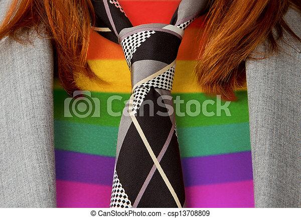 regenboog, vrouw zaak, vastknopen, model, vlag, kaukasisch - csp13708809
