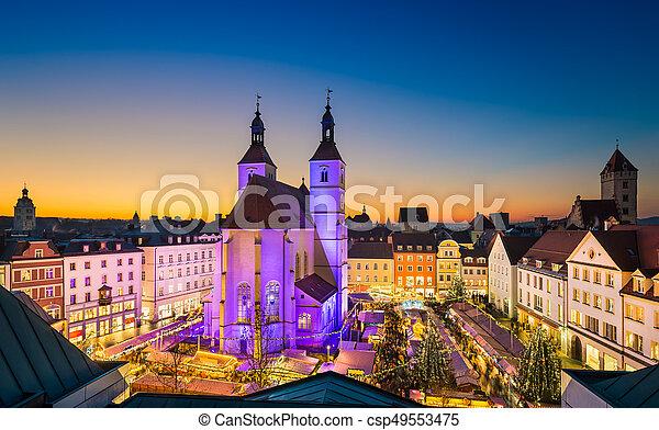 Deutschland Weihnachtsmarkt.Regensburg Deutschland Weihnachtsmarkt