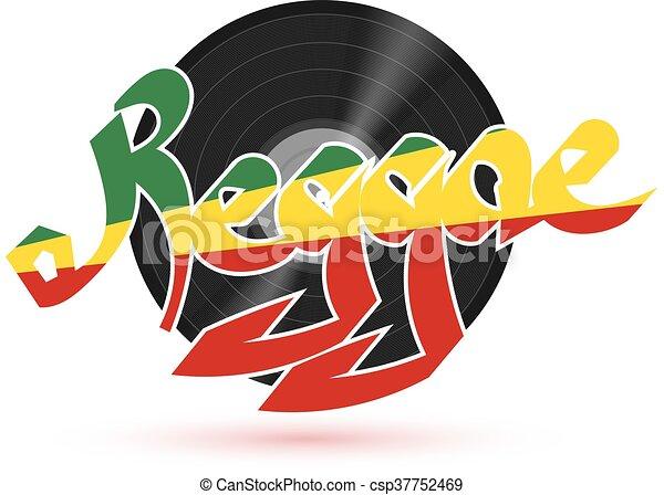 reggae, 単語, illustration., プレート, プラスチック, レコード, ベクトル, 背景, ミュージカル, 白, music., shadow., 株 - csp37752469