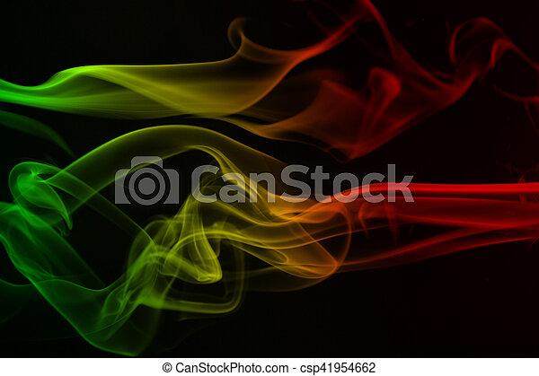 reggae, 煙, 抽象的, 色, カーブ, 波, 旗, 黄色, 音楽, 背景, 緑, 赤, 有色人種 - csp41954662