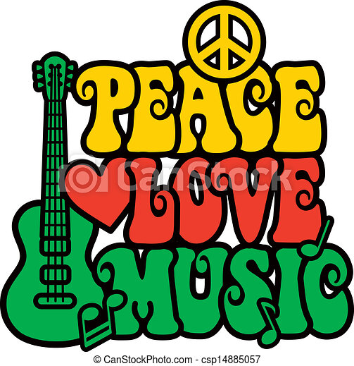 Reggae Peace Love Music - csp14885057