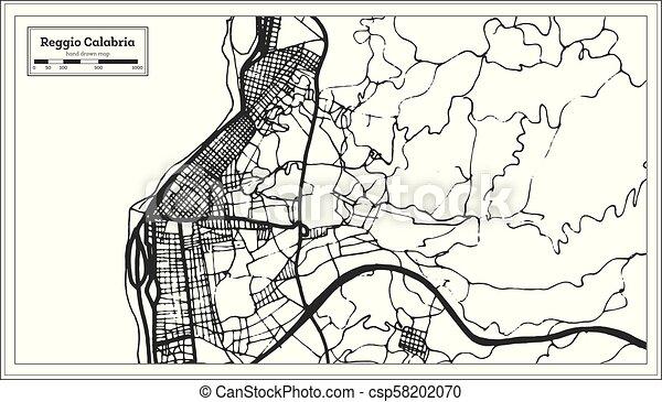 Reggio Calabria Italy City Map In Retro Style Outline Map Vector