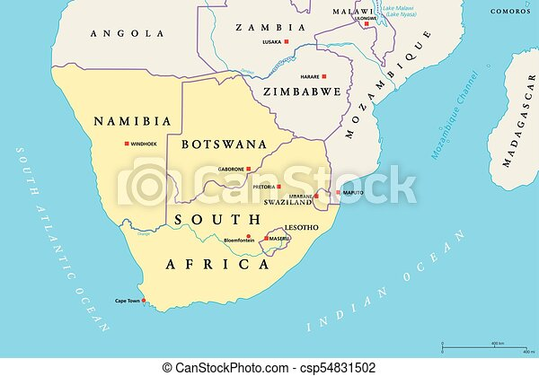 Cartina Africa Sud.Regione Africa Meridionale Politico Mappa Botswana Lesotho Illustration Map Africano Regione Africa Capitali Canstock