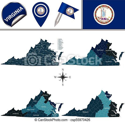 Mapa de Virginia con regiones - csp55970426