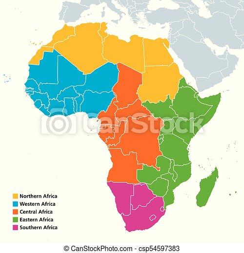 Cartina Africa Centrale.Regioni Africa Politico Mappa