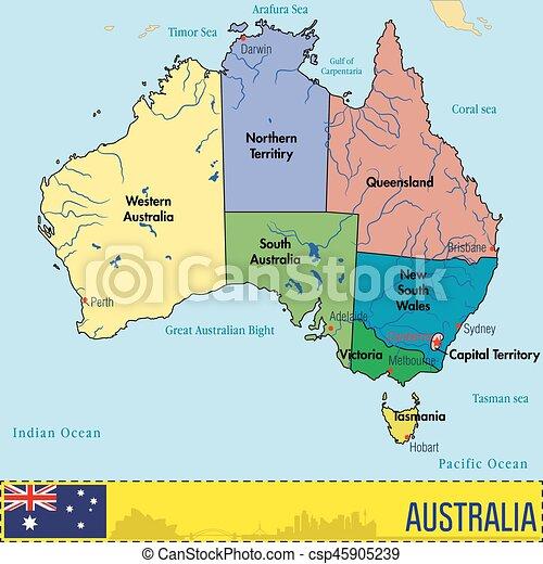 Cartina Australia Politica.Regioni Mappa Australia Capitali Loro